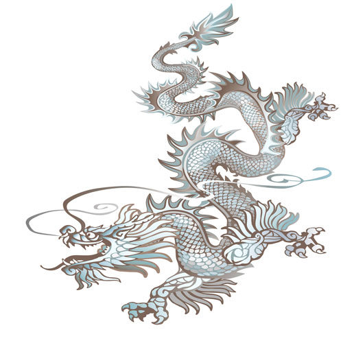 Зеленый дракон поворачивает глову